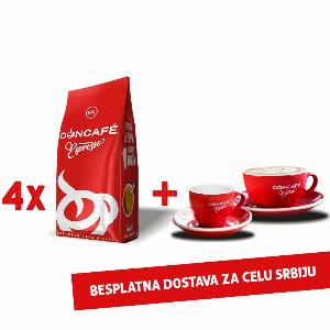 4x250g Doncafe Espresso + dve poklon šoljice